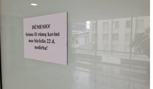 Seimo rūmuose – nebeveikia viena iš kavinių, paskelbtas naujas konkursas