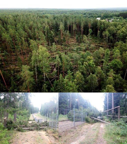 Škvalas Lietuvos pasienyje: vaizdai gniaužia kvapą