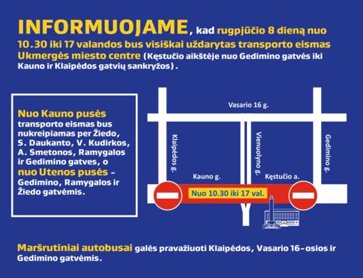 Bus uždarytas transporto eismas Ukmergės miesto centre