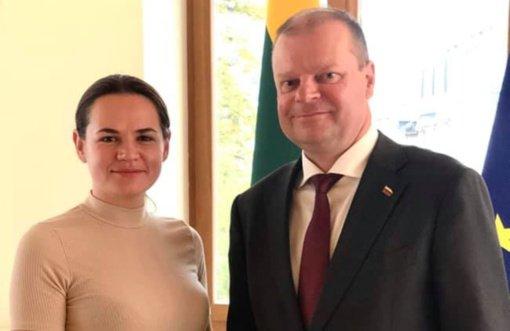 Premjeras susitiko su Baltarusijos nacionaline lydere S. Cichanouskaja