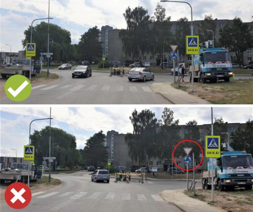 Tauragės J. Tumo-Vaižganto ir Bernotiškės gatvių sankryžoje įrengtas mini žiedas