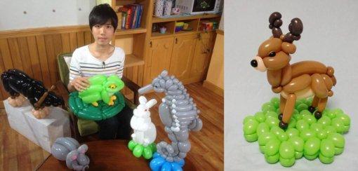 Neįtikėtini  japono darbai iš balionų: koala, musė, elnias...