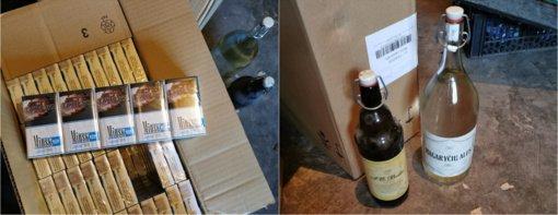 Vilkaviškyje pasieniečiai rado kontrabandinių cigarečių ir nelegalaus alkoholio