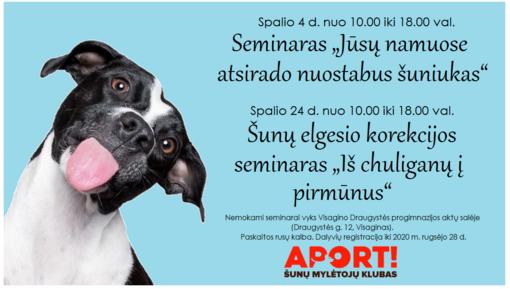 Šunų mylėtojams – nemokami seminarai Visagine
