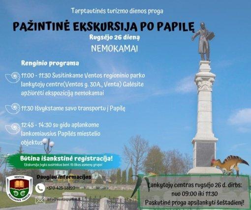 Tarptautinę turizmo dieną – ekskursija po Papilę