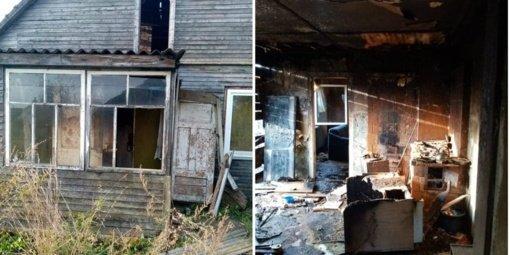 Nuo degančios žolės užsidegė ūkinis pastatas ir gyvenamasis namas