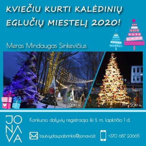 Jonaviečiai jau kviečiami kurti eglutes Kalėdinių eglučių miesteliui