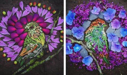 Stulbinantys paukščiai iš lapų, gėlių, šakelių
