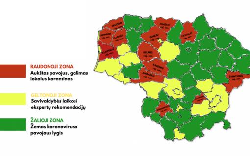 Šiauliai – geltonojoje zonoje. Savivaldybės pagal sergamumą koronavirusu bus skirstomos į šviesoforo spalvų zonas