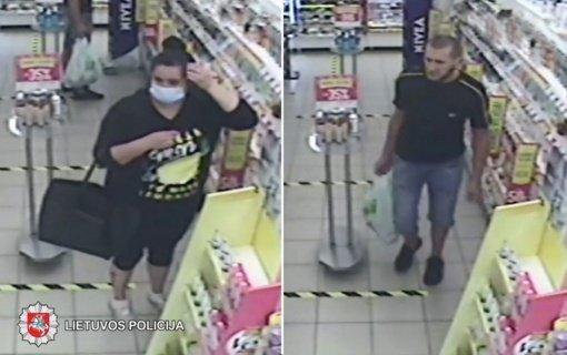 Panevėžio policija prašo pagalbos: ieškomi kvepalus iš parduotuvės pavogę asmenys