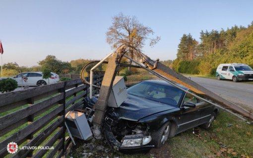 Alytaus rajone neblaivus vairuotojas nuvertė elektros stulpą