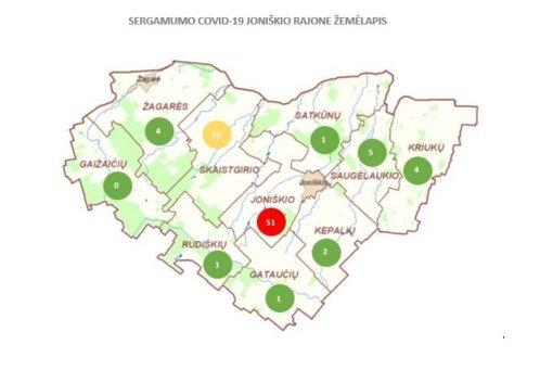 Joniškio rajono savivaldybė sudarė COVID-19 infekcijos susirgimų atskirose seniūnijose žemėlapį