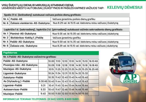 Ukmergės miesto autobusų tvarkaraščiai Visų Šventųjų ir Vėlinių dienomis