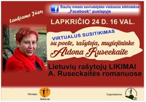 Vyks virtualus susitikimas su rašytoja Aldona Ruseckaite