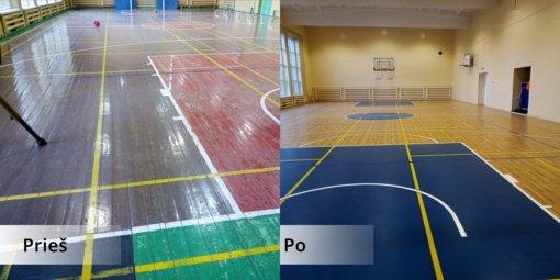 Atnaujinta Klausučių Stasio Santvaro pagrindinės mokyklos sporto salė