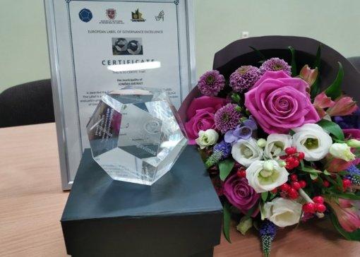 Joniškio rajono savivaldybė apdovanota Europos Tarybos ženklu už nepriekaištingą valdymą