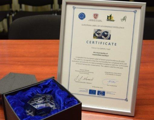 Vilkaviškio rajono savivaldybė apdovanota Europos Tarybos ženklu už nepriekaištingą valdymą