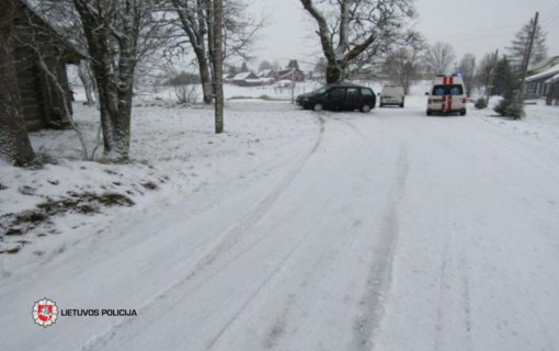 Dulių kaime nuo kelio nuslydo automobilis, nukentėjo vairuotoja
