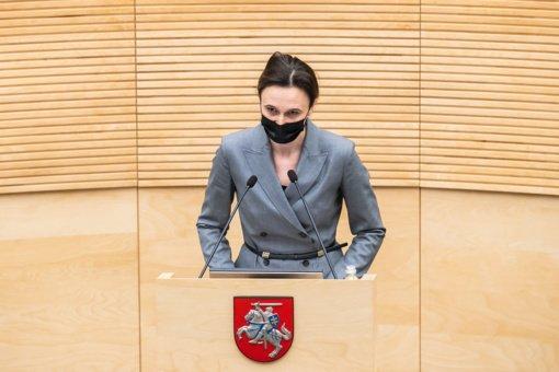 """Seimo pirmininkė: tai, kad šešėlinėje Vyriausybėje nėra S. Skvernelio, rodo problemas """"valstiečių"""" partijoje"""