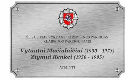 Atminimo lentos įamžins tarnyboje žuvusių pareigūnų atminimą