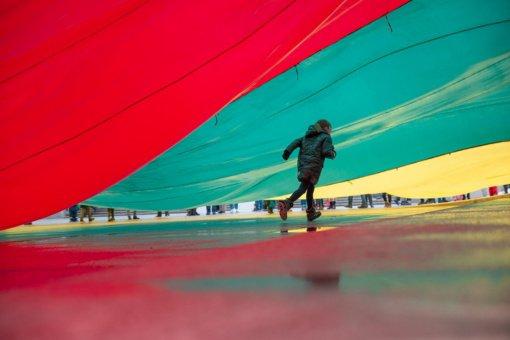 Pasitinkant Kovo 11-ąją, Laisvės alėja virs įspūdinga šviečiančia trispalve