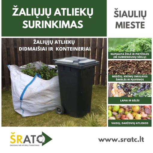 Šiaulių mieste prasideda žaliųjų (biologiškai skaidžių) atliekų surinkimas