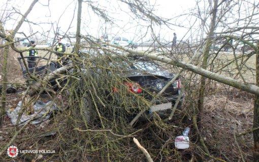 Kauno rajone automobilio nesuvaldė jaunas vairuotojas