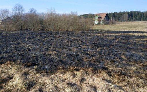 Šalčininkų rajone nuo degančios žolės vos nesupleškėjo visa sodyba, apdegė žmogus