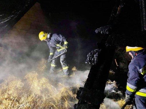 Ukmergės rajone degė ūkinis pastatas, ugniagesiams teko gelbėti vištas