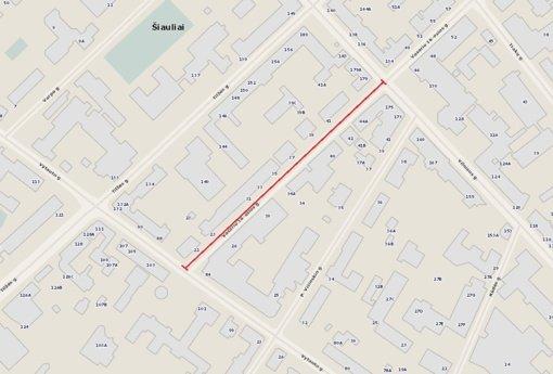 Šiauliuose uždaroma Vasario 16-osios gatvės atkarpa