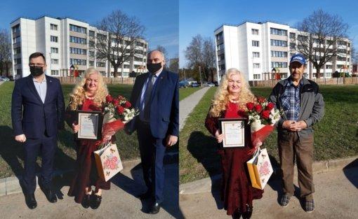Šilalėje apdovanota daugiavaikė mama Magdelena Auškalnienė