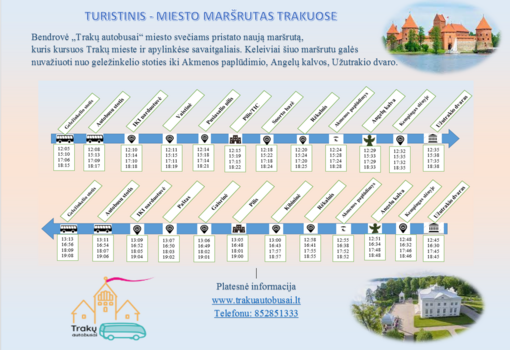 Savaitgaliais Trakuose pradeda veikti naujas maršrutas nuo geležinkelio stoties iki Užutrakio
