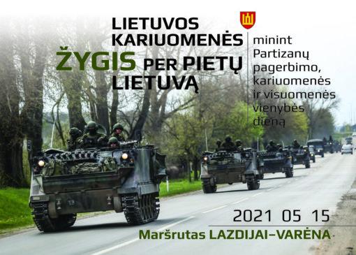 Per Lazdijus vingiuos Lietuvos kariuomenės žygis