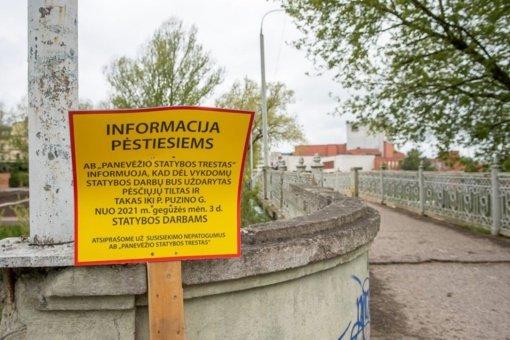 Panevėžyje uždaromas pėsčiųjų tiltas per Nevėžio upę