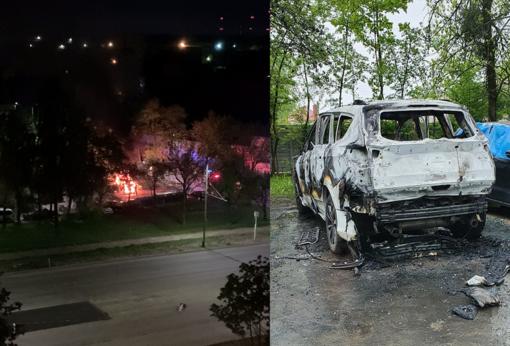 Kaune griaudėjo sprogimai: daugiabučio kieme liepsnojo automobilis