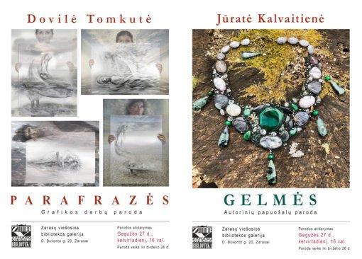 Zarasų bibliotekoje atidaromos dvi naujos parodos