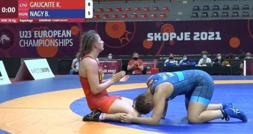 Imtynininkė Kamilė Gaučaitė Europos imtynių U23 čempionate užemė penktą vietą