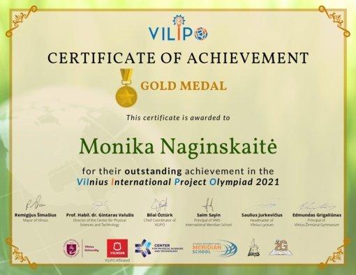 """Simono Daukanto gimnazijos mokinė - Tarptautinės projektų olimpiados """"VILIPO 2021"""" nugalėtoja"""