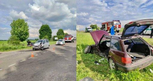 Ukmergės rajone susidūrė du automobiliai, tarp nukentėjusiųjų – vaikai