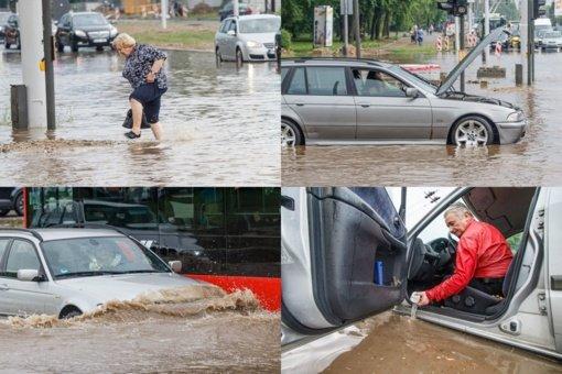 Kaunas neatlaikė pirmosios vasaros liūties: skendo automobiliai