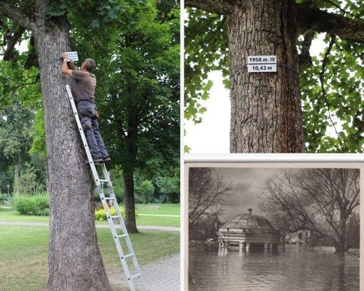 Druskininkuose atnaujinta istorinį potvynį žyminti lentelė