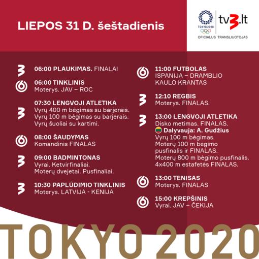 Šeštadienio olimpinių žaidynių transliacijų tvarkaraštis: visas dėmesys – disko metikui A. Gudžiui