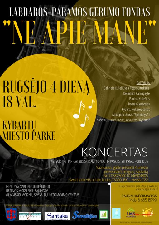 Kybartų miesto parke vyks paramos koncertas