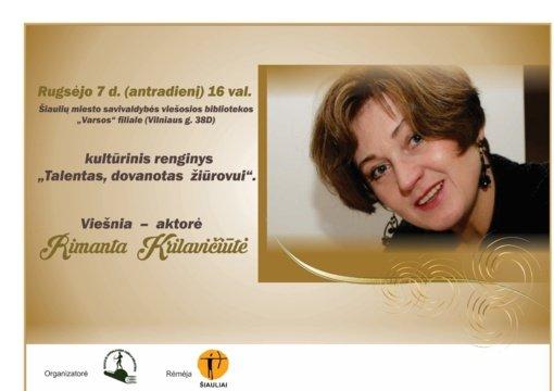 Vyks susitikimas su aktore Rimanta Krilavičiūte