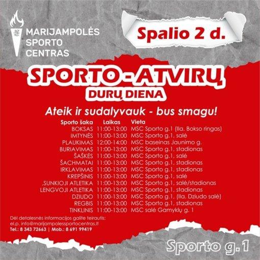 Marijampolės sporto centras kviečia į atvirų durų dienas ir miesto baseinus