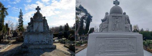 Marijampolės kapinėse restauruotas tarpukariu pastatytas paminklas ateitininkams