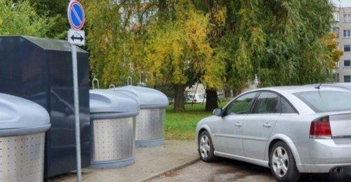 Privažiavimus prie atliekų konteinerių saugos draudžiamieji ženklai