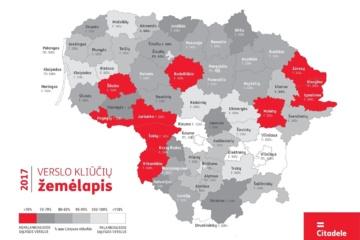 Verslo kliūčių žemėlapis 2017: Lietuvoje sunkiausia Jurbarko rajono ir Visagino įmonėms