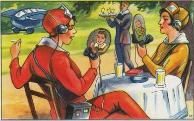 Vintage iliustracijos apie ateitį tapusios realybe