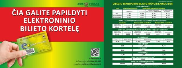 Išplėstas viešojo transporto e. bilieto kortelių papildymo  vietų tinklas